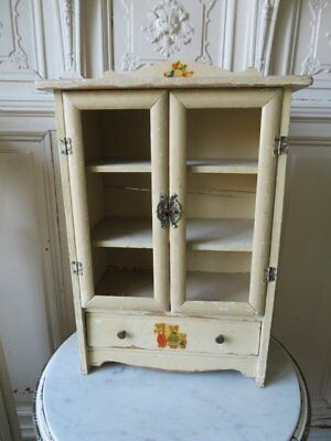 CHARMING Old Vintage CHILD'S DOLL WOOD CABINET Decals Doors Drawer Shelves