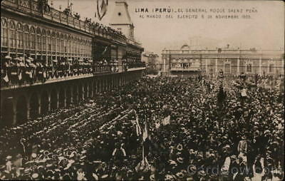 Peru RPPC Lima Huge Crowd of People at Palatial Structure Real Photo Postcard