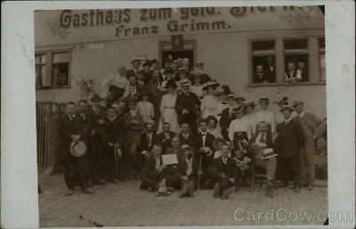 Germany RPPC Large Group of People Posing in Front of Gasthaus-Franz Grimm