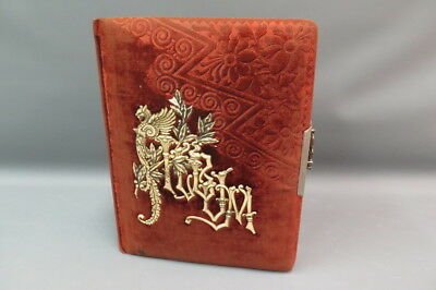 Antique Celluloid Red Velvet Photo Album Clasp w/ 46 Photograph Cabinet Cards