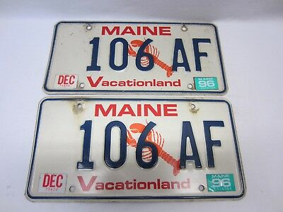 "Pair of VINTAGE Maine 1996 Lobster License Plates ""106 AF"" as Pictured"