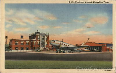 Knoxville,TN Municipal Airport Knox County Tennessee Linen Postcard