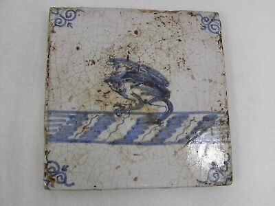 Antique 18th Century Blue & White Delft Frog in Water Hand Painted Estate Tile