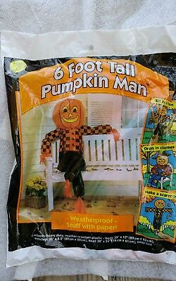 Vtg. Sun Hill Stuffable 6 Ft. PumpkinMan Decoration New Sealed