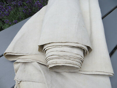 """Antique  Handwoven Natural   Linen Fabric 38   """"by 5 Yards Unused"""