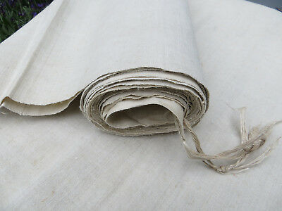"""Antique  Handwoven Natural   Linen Fabric 38   """"by 4.56 Yards Unused"""