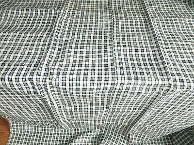 "Unused   Antique Handwoven Check Linen Duvet Cover  Black White 70 "" by 79 """