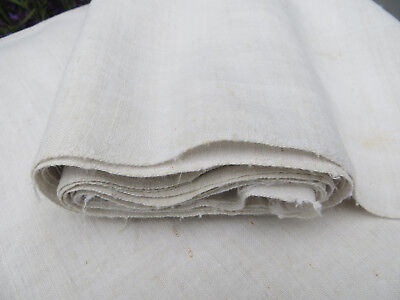 """Antique  Handwoven White Of Cream    Linen Fabric 26    """"by 3 Yards Unused"""