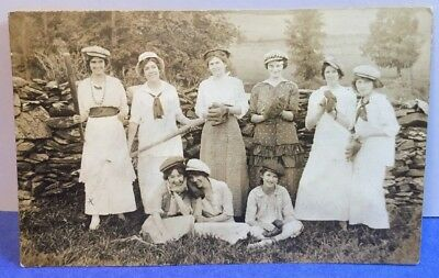 Women's Baseball Team Real photo postcard 1915 Church Picnic Schenectady NY