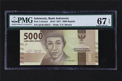 2016/2017 Bank Indonesia 5000 Rupiah Pick#Unlisted PMG 67 EPQ Superb Gem UNC
