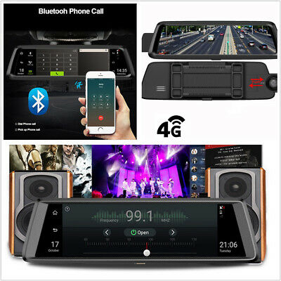 10''HD 4G Wifi Bluetooth Android5.1 GPS Vehicle Rearview Mirror DVR Cam G-Sensor