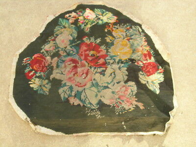 "Antique 19c Needlepoint Wool Panel Floral Flowers  Motif 22x25"" As Shown"