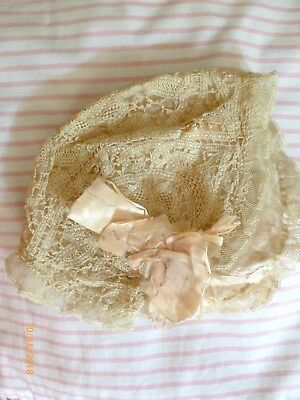 ADORABLE Antique HANDMADE BELGIUM TAPE LACE Baby BONNET w/ SILK RIBBONS