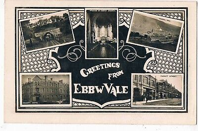 WALES - R/P - MULTI VIEW OF EBBW VALE - MARKET STREET, COUNTY HOTEL, etc, c1910