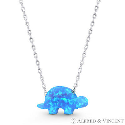 Lab Opal Turtle / Turquoise Sealife Animal Charm Pendant in .925 Sterling Silver