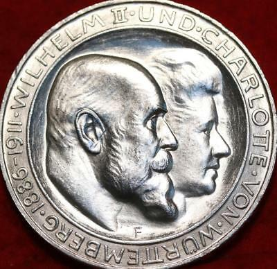 Uncirculated 1911 Germany Wurttemberg 3 Mark Silver Foreign Coin