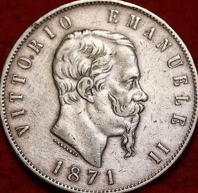 1871 Italy 5 Lire Silver Foreign Coin