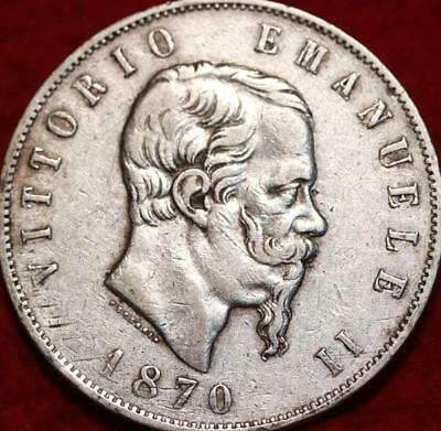 1870 Italy 5 Lire Silver Foreign Coin