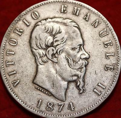 1874 Italy 5 Lire Silver Foreign Coin
