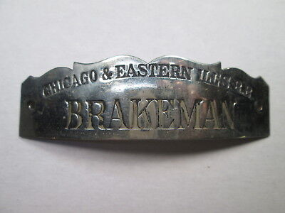 C&EI Chicago & Eastern Illinois Railroad BRAKEMAN Uniform Hat Badge