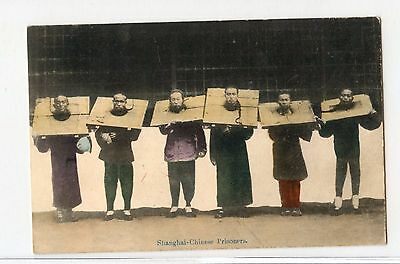 Chinese Shanghai Prisoner's in the Cangue  Post Card VERY SCARCE