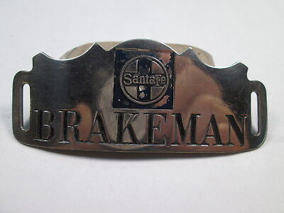 AT&SF Santa Fe BRAKEMAN Uniform Hat Badge w/Circle Cross Logo
