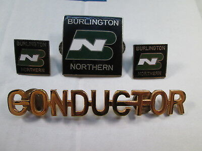 BN Burlington Northern CONDUCTOR Uniform Hat Badges & Collar Insignia