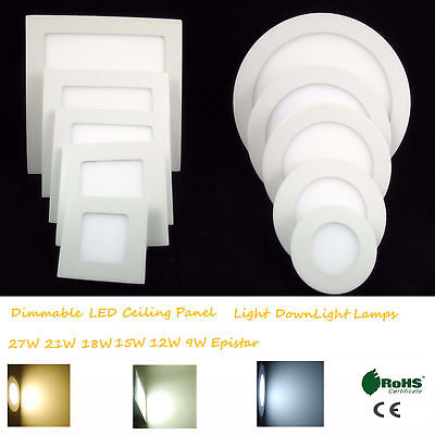 Dimmable LED Ceiling Panel Light 27W 21W 18W 15W 12W 9W Epistar DownLight Lamps