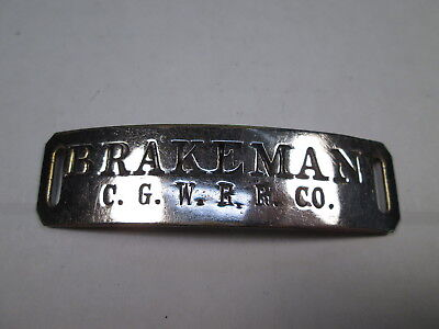 CGW Chicago Great Western Railroad BRAKEMAN Uniform Hat Badge