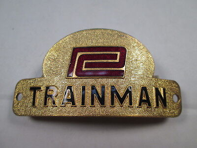 PC Penn Central TRAINMAN Uniform Hat Badge