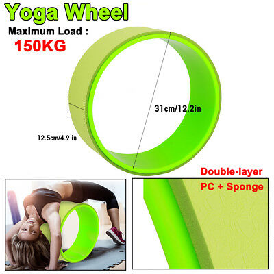 Yoga Wheel Pilates Core Balance Exercise Fitness Stretch Roller 31cm Max 150KG