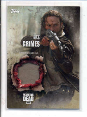 Rick Grimes 2016 The Walking Dead Authentic Worn Shirt Relic Card Fd3476