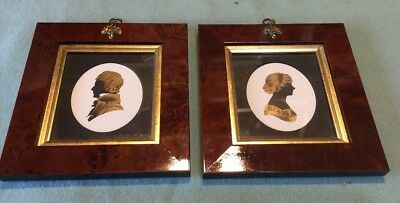 Pair Of Silhouette In Wooden Frame England