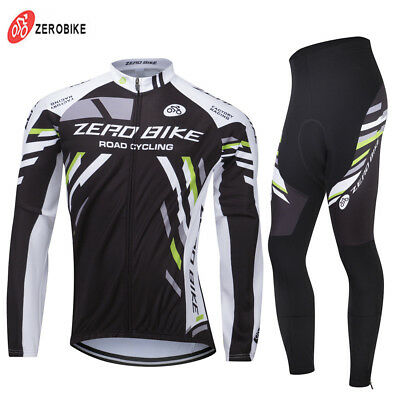Mens Winter Fleece Thermal Long Sleeve Cycling Jersey Suit Jacket Pants Set Hot