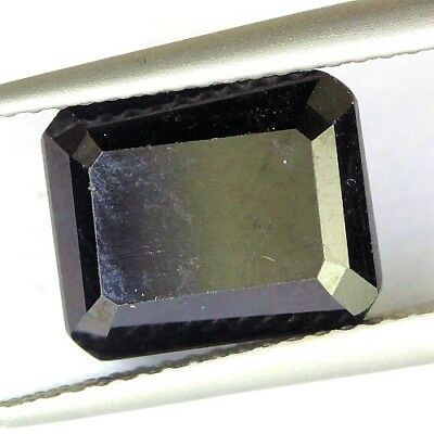 #4.19 cts. 10.2 x 8.3 mm.UNHEATED NATURAL BLACK ONYX OCTAGON INDIA