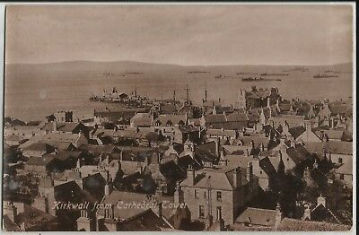 Kirkwall from Cathedral Tower, Orkney, with US warships on real photo postcard