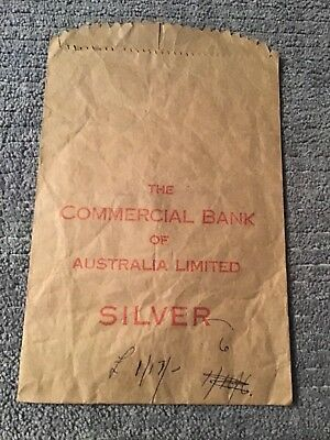 The Commercial Bank of Australia, used predecimal Silver change bag
