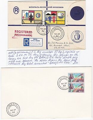 1989 Malta Qala S P O Gozo Registered First Day Of Post Office Opening