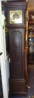 Good Size Antique Oak Westminster Chime Grandfather Clock In Full Working Order