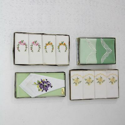 4 x sets of vintage handkerchiefs boxed as new cotton Switzerland #454