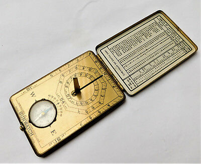 NO RESERVE c1920 Ansonia Sunwatch Miniature Pocket Sundial & Compass Vintage