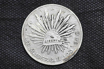 Mexico - Republic 1867 Mo CH 8 Reales Silver Coin ( Weight : 26.66 g ) C94
