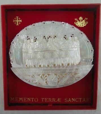 Vintage Last Supper Carved Mother of Pearl Religious Standing Plaque
