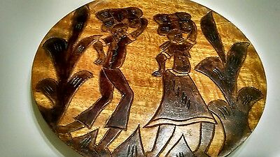 Carved Wooden Plate People carry packages cactus Haiti? Wall Hanging Primitive