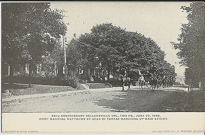 Sellersville PA Vol Fire Company parade on Main Street on 1908 mint postcard