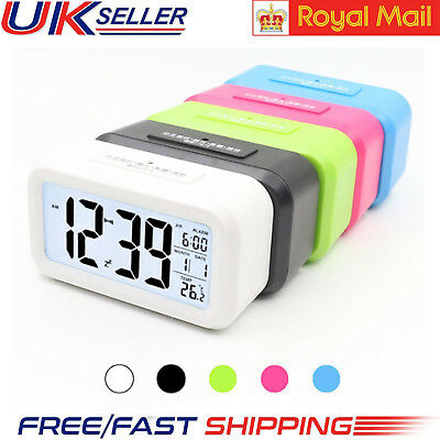 Battery Digital Alarm Clock with LCD Display White Backlight Calendar Snooze UK