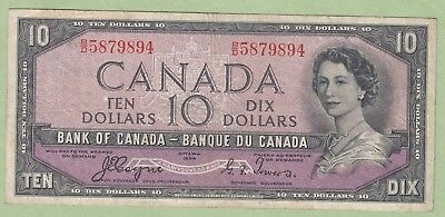 1954 Bank of Canada 10 Dollar Note Devil's Face - Coyne/Towers- B/D5879894 -Fine
