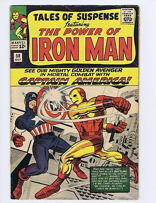 Tales of Suspense 58 (Solid!) Cap battles Iron Man; Classic Kirby cover (c#20259