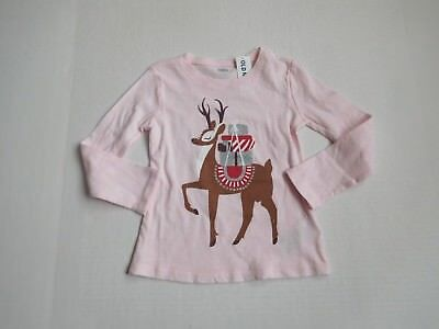 NWT Girls Old Navy Pink Reindeer With Presents Shirt sz 5t