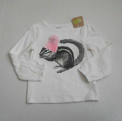 NWT Girls Crazy 8 Squirrel With Pink Hat Long Sleeve Shirt sz 3t